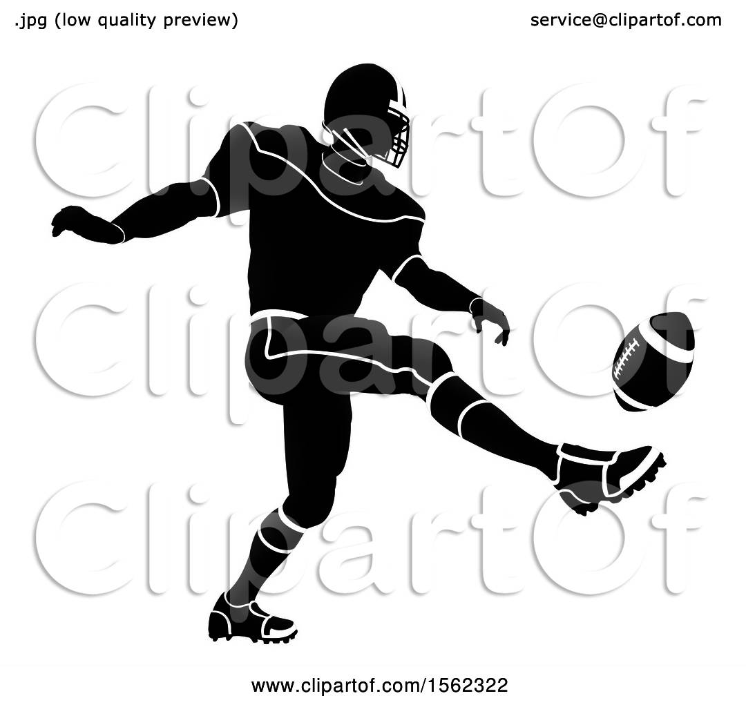 hight resolution of clipart of a silhouetted football player kicking royalty free vector illustration by atstockillustration