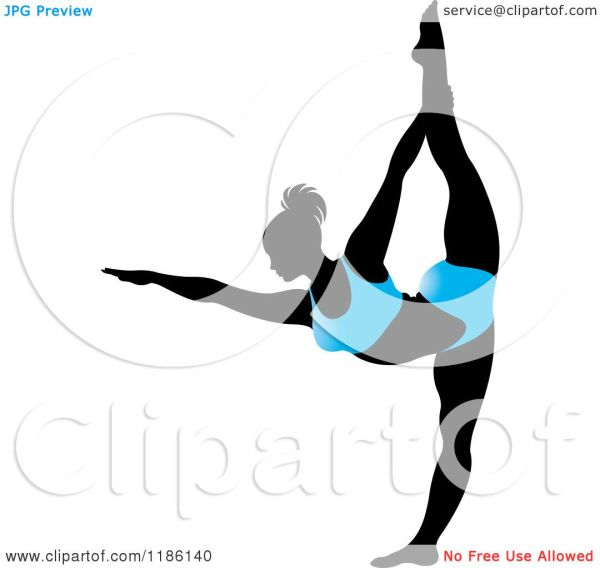 Clipart Of Silhouetted Woman In Blue Outfit
