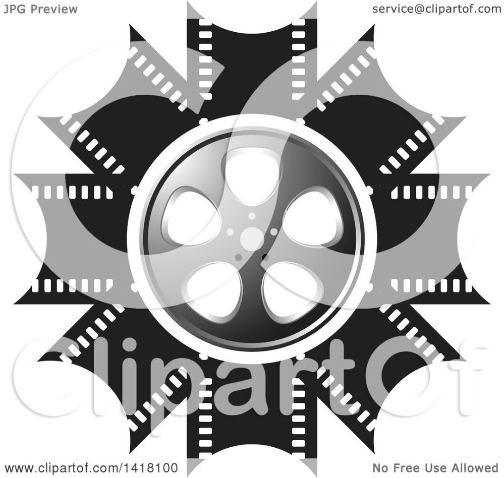 medium resolution of clipart of a silver black and white film reel design royalty free vector illustration by