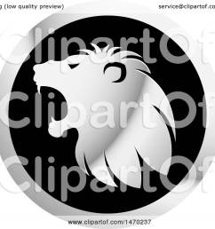 clipart of a silver roaring lion head in profile on a round icon royalty free [ 1080 x 1024 Pixel ]