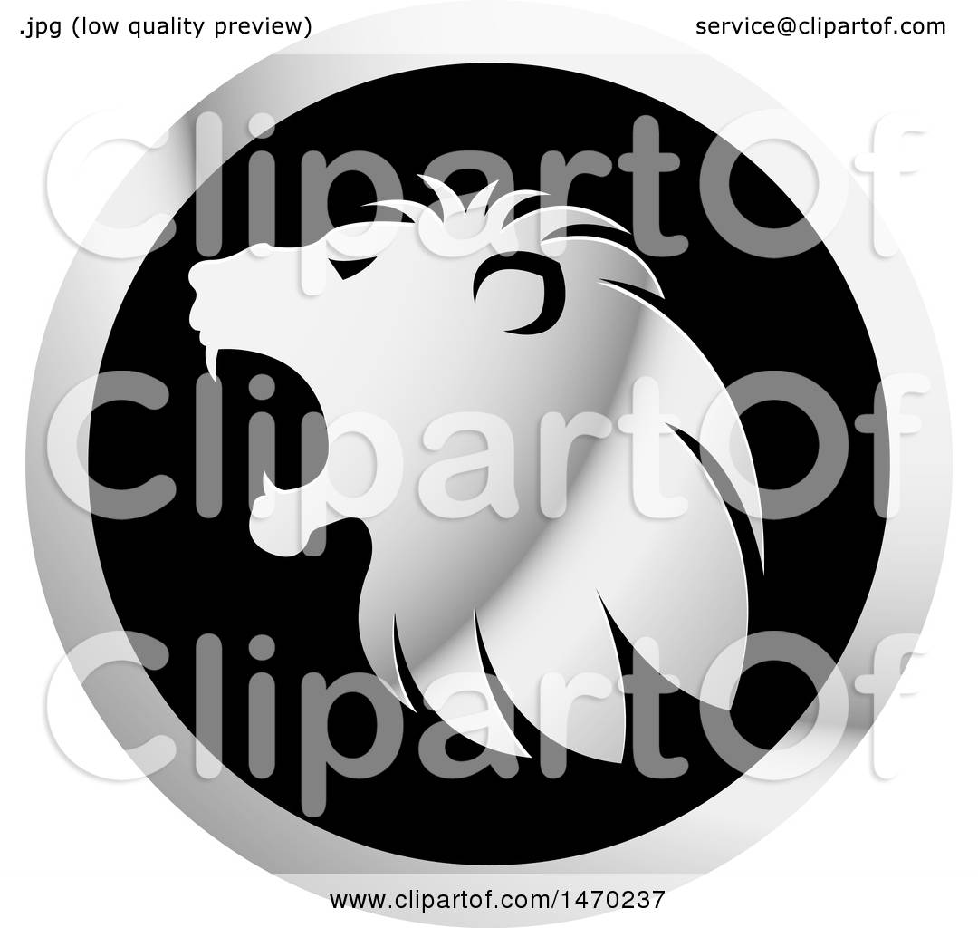 hight resolution of clipart of a silver roaring lion head in profile on a round icon royalty free