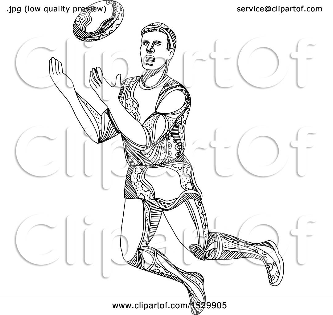 Clipart of a Sketched Aussie Rules Football Player