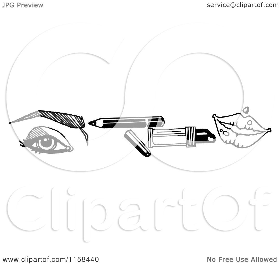 Clipart Of A Sketched Black And White Beauty Border Of An