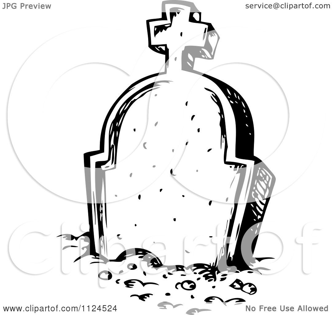 Clipart Of A Sketched Black And White Cemetery Tombstone