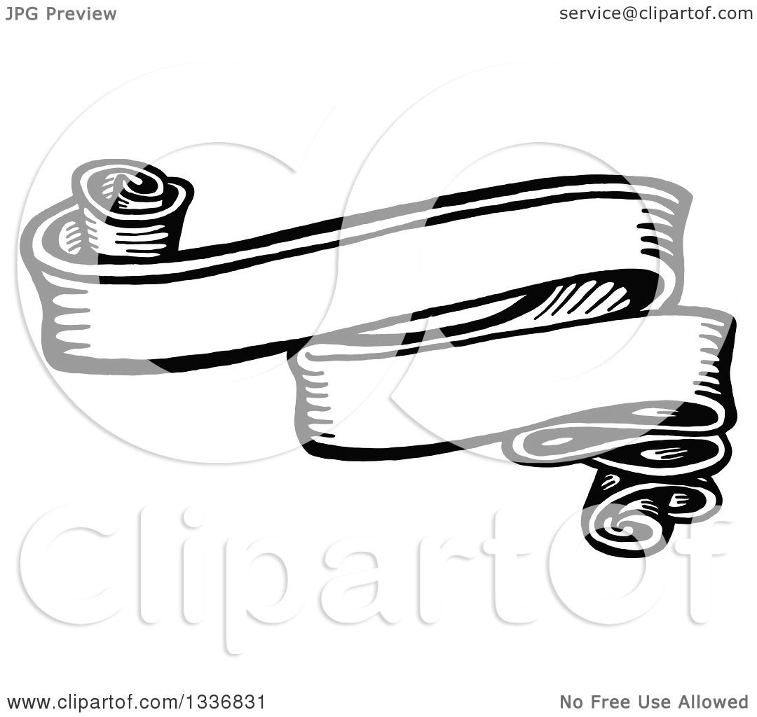 Clipart Of A Sketched Black And White Doodle Of A Vintage