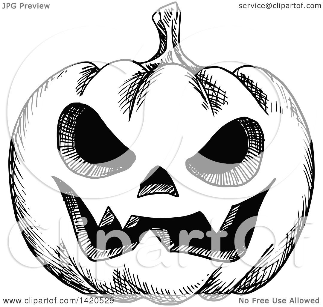 Clipart Of A Sketched Black And White Halloween