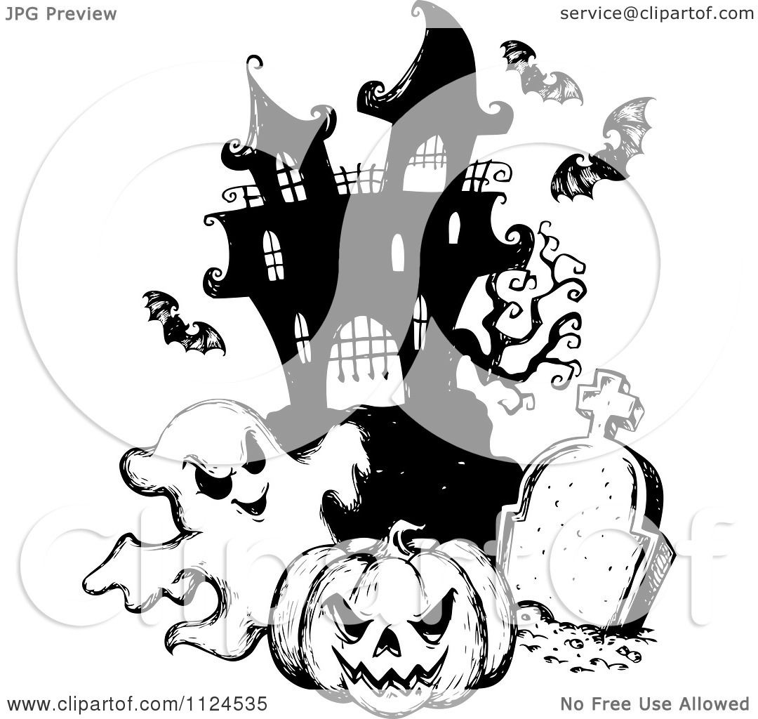 hight resolution of clipart of a sketched black and white haunted house with a cemetery bats halloween pumpkin and