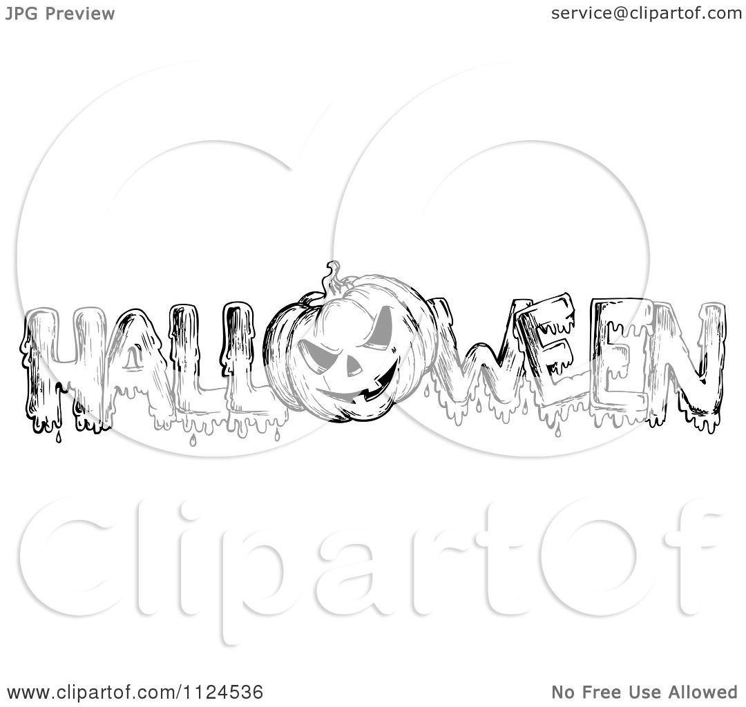 Clipart Of A Sketched Black And White Jackolantern Pumpkin