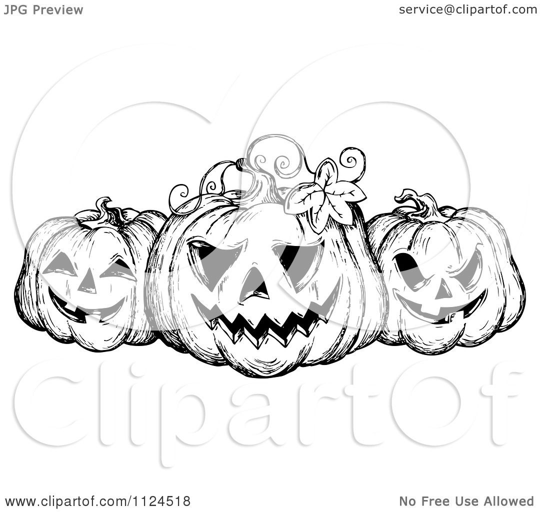Clipart Of A Sketched Black And White Trio Of Grinning