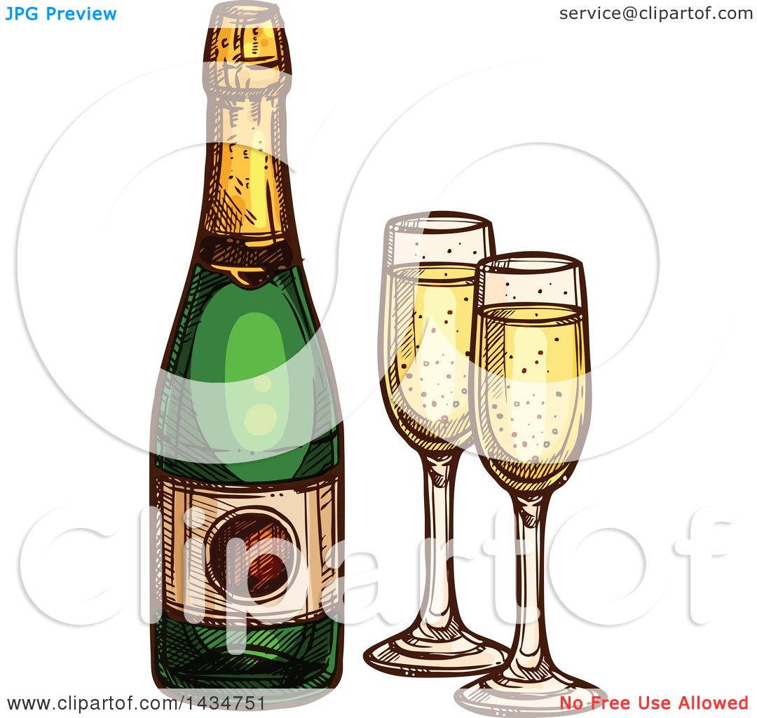 hight resolution of clipart of a sketched bottle of champagne and glasses royalty free vector illustration by vector