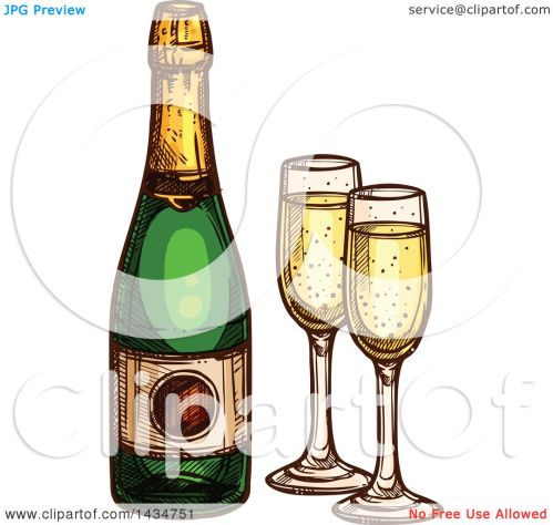 small resolution of clipart of a sketched bottle of champagne and glasses royalty free vector illustration by vector