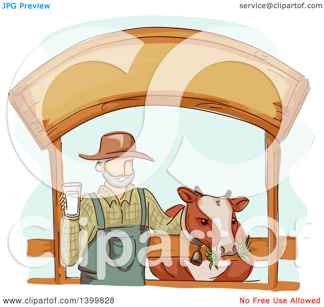 hight resolution of clipart of a sketched dairy farmer holding a glass of milk and standing with a cow