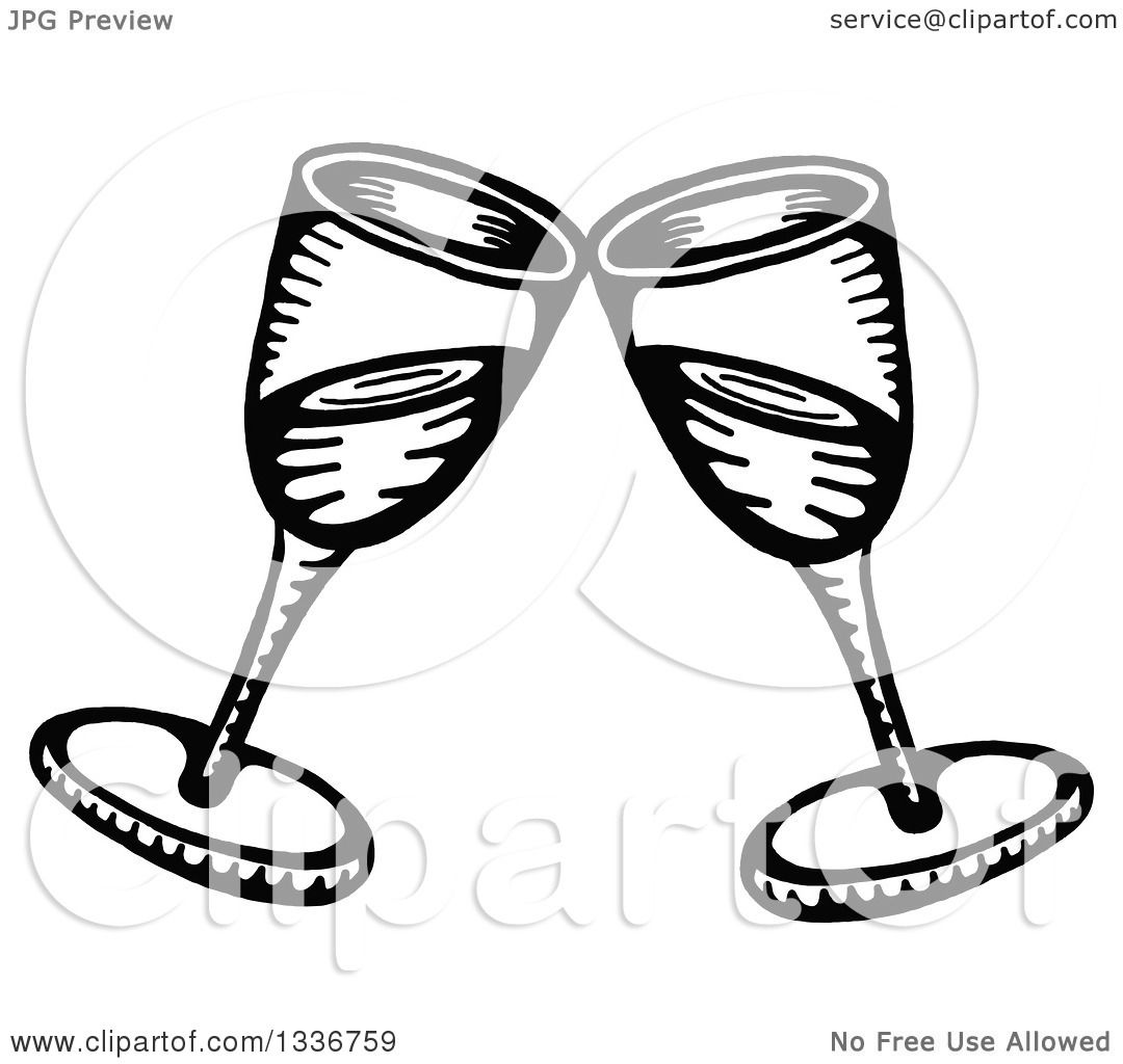 Clipart Of A Sketched Doodle Of Black And White Clinking