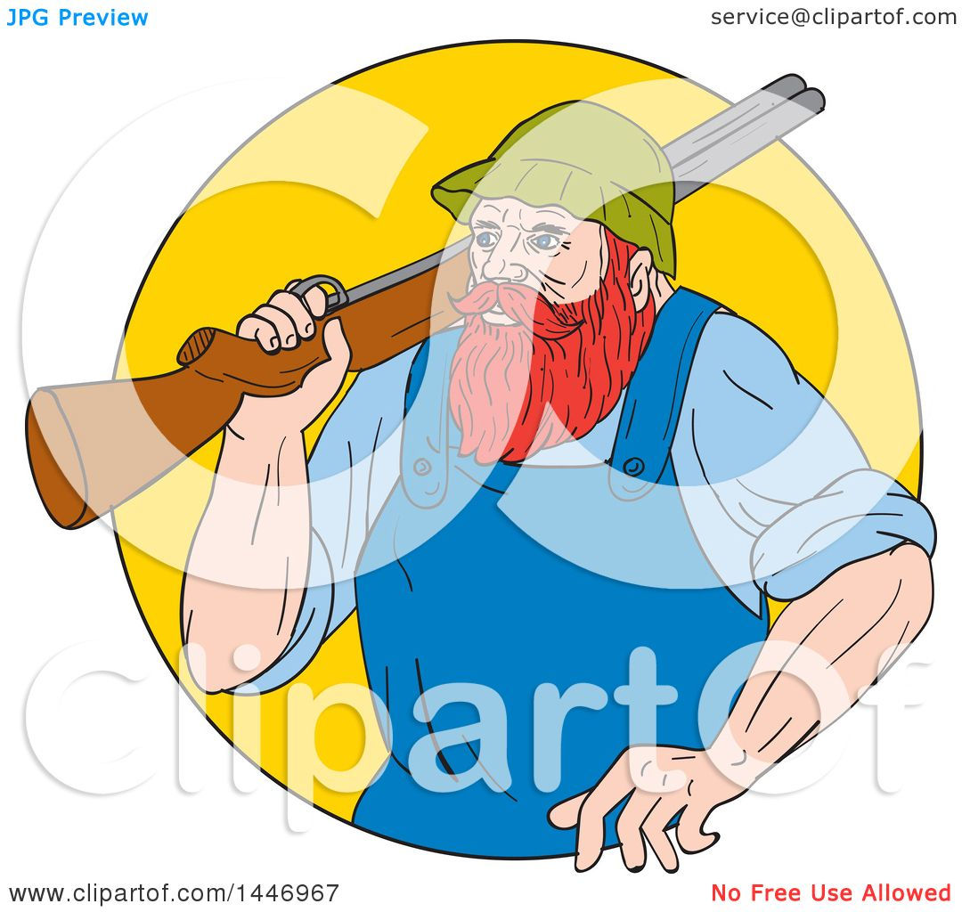 hight resolution of clipart of a sketched drawing styled lumberjack paul bunyan carrying a shotgun over his