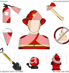 clipart of a sketched fireman flanked by fire axe bucket and shovel extinguisher  [ 1080 x 1024 Pixel ]