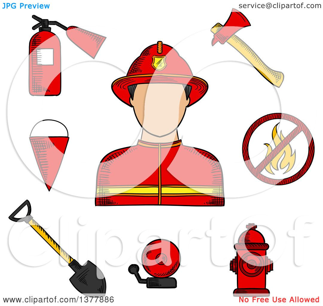 hight resolution of clipart of a sketched fireman flanked by fire axe bucket and shovel extinguisher