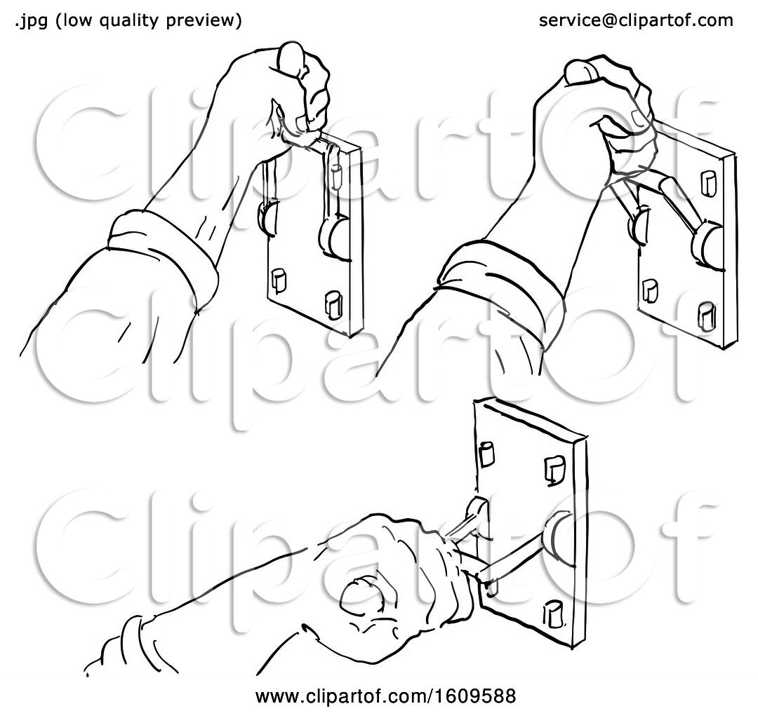 Clipart Of A Sketched Progression Sequence Of A Hand