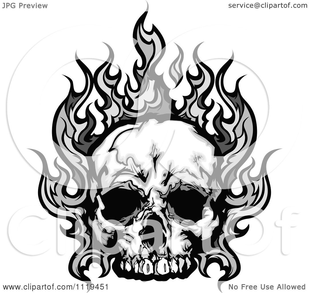 Clipart Of A Skull With Gray Flames