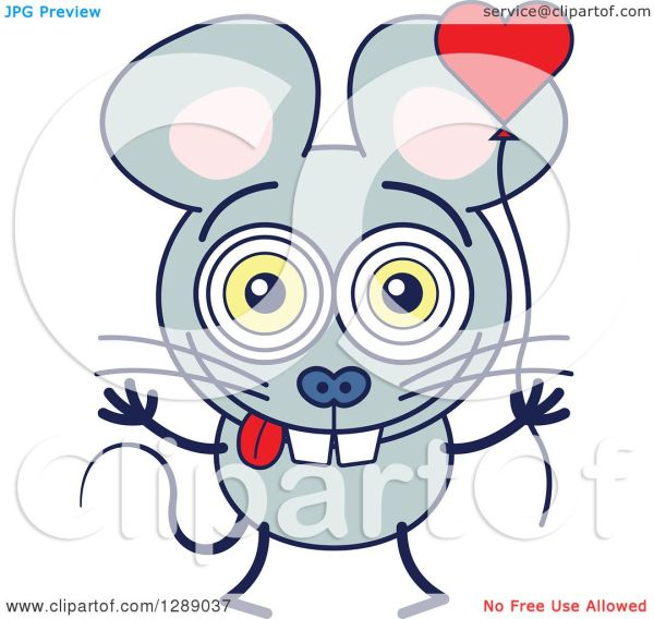 clipart of smitten gray mouse