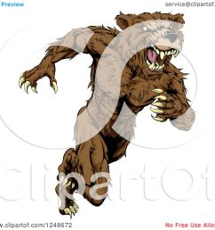 clipart of a snarling muscular bear mascot running upright royalty free vector illustration by atstockillustration [ 1080 x 1024 Pixel ]