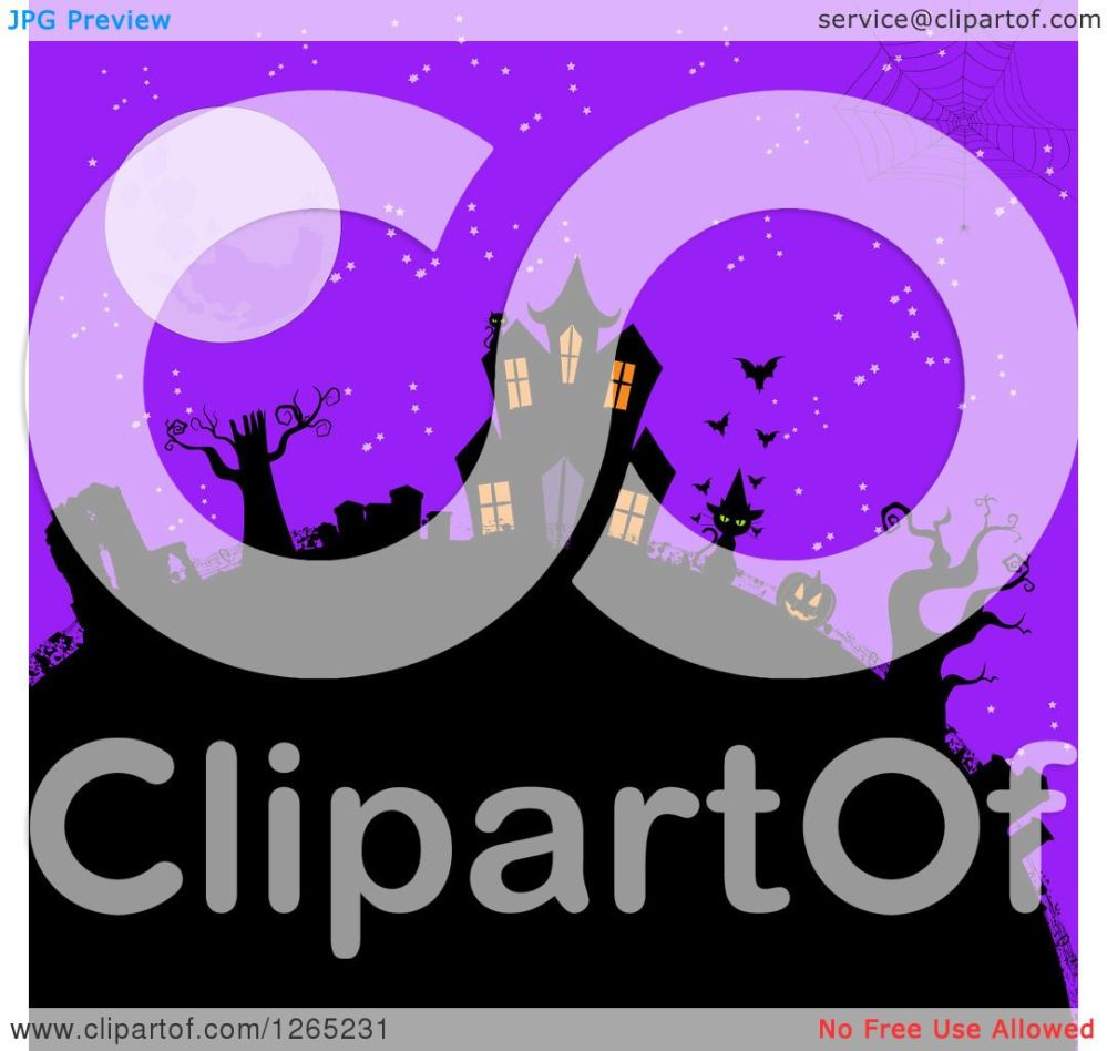 medium resolution of clipart of a spider web over a hill with a halloween haunted house cat jackolantern