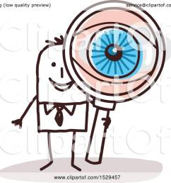 clipart of a stick business man looking through a magnifying glass with a big eye royalty free vector illustration by nl shop [ 1080 x 1024 Pixel ]