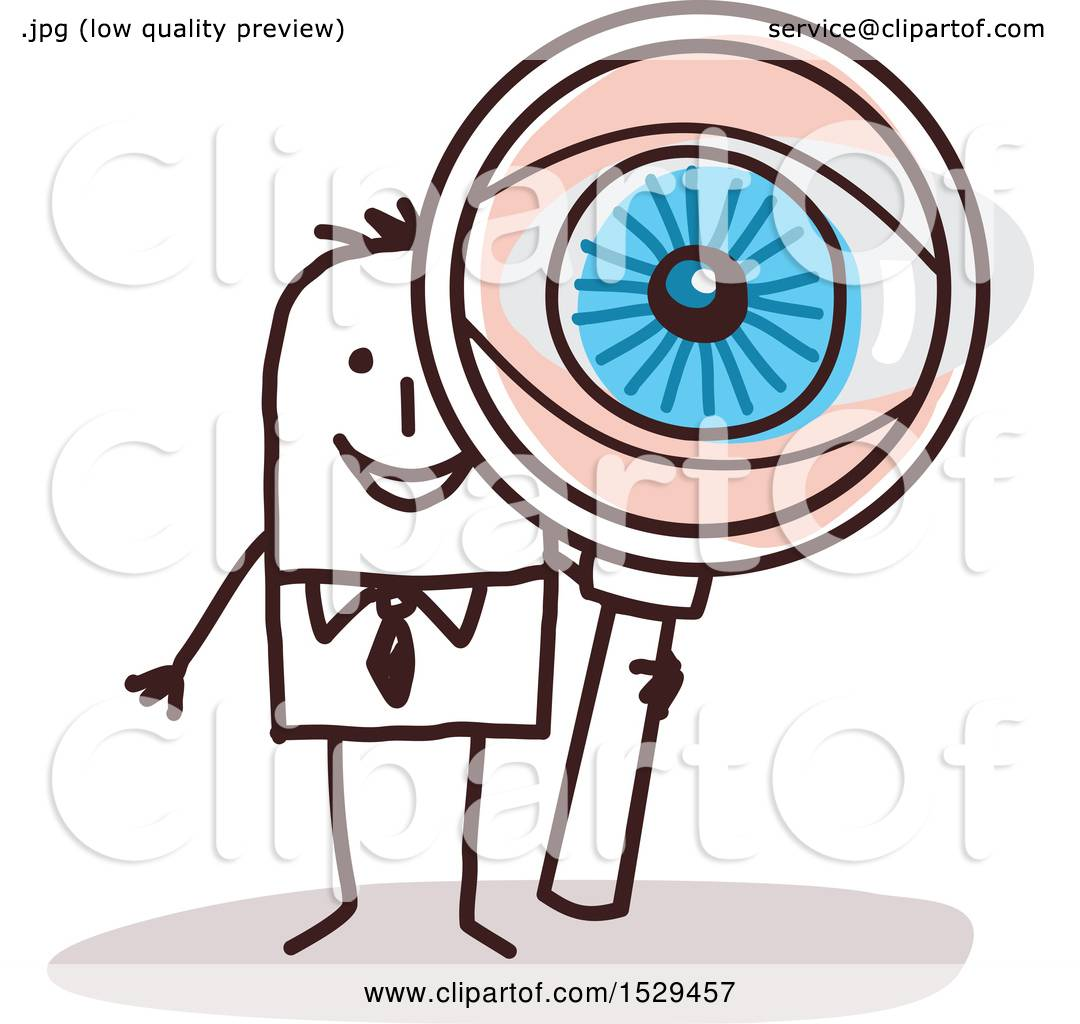 hight resolution of clipart of a stick business man looking through a magnifying glass with a big eye royalty free vector illustration by nl shop