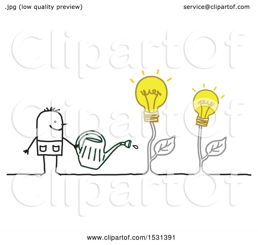 Clipart Of A Stick Man Watering Idea Light Bulb Plants