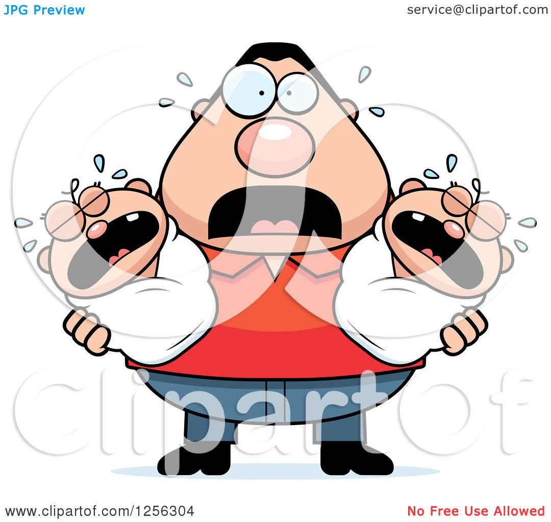 hight resolution of clipart of a stressed caucasian father holding twin babies royalty free vector illustration by cory