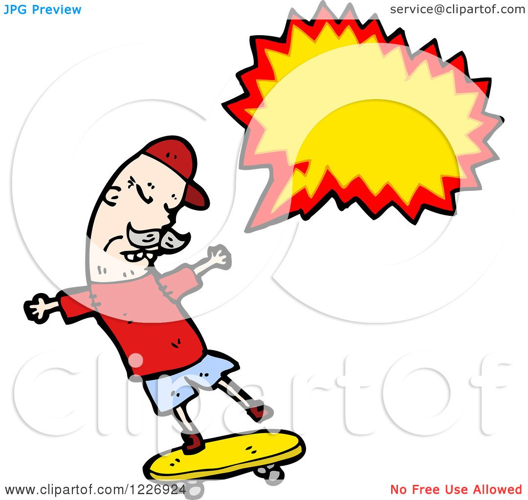 hight resolution of clipart of a talking skateboarding man royalty free vector illustration by lineartestpilot