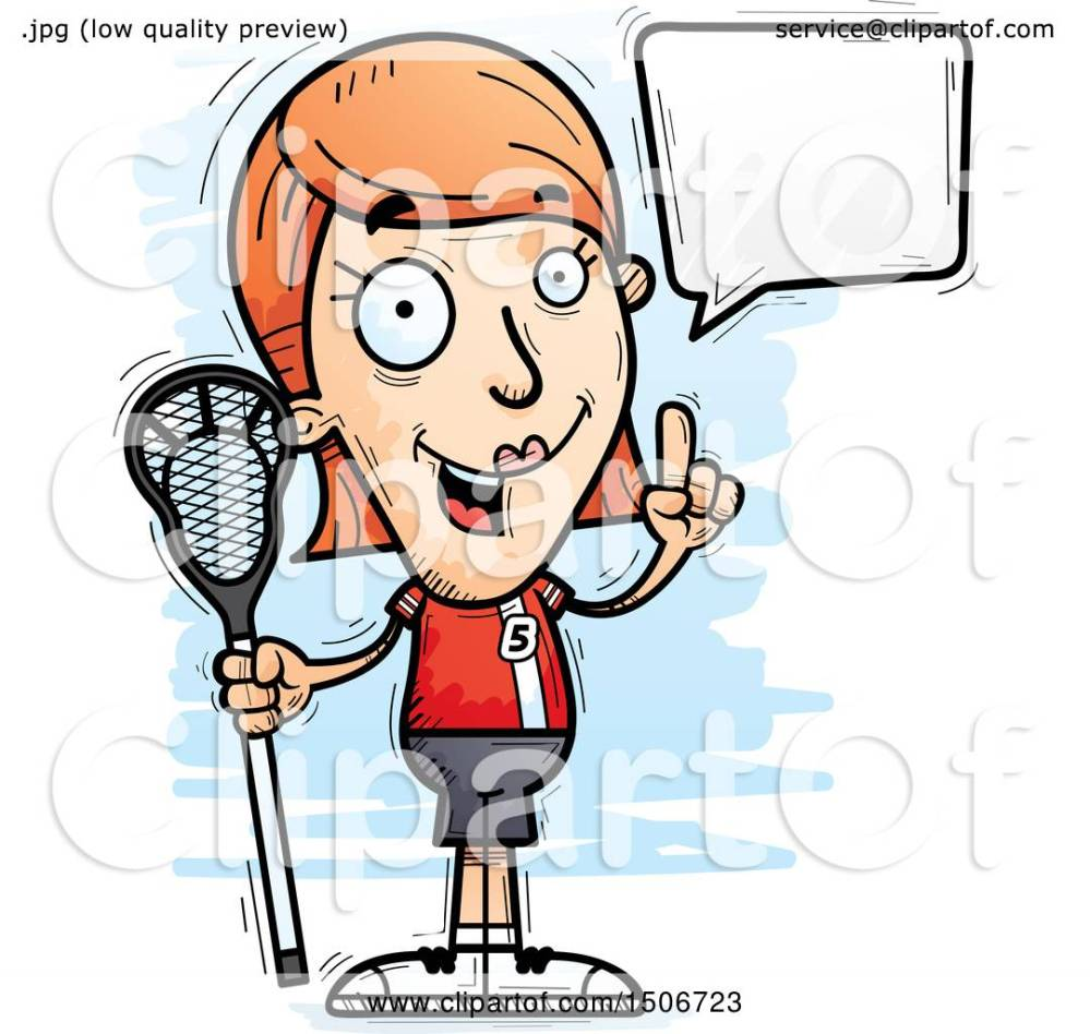 medium resolution of clipart of a talking white female lacrosse player royalty free vector illustration by cory thoman