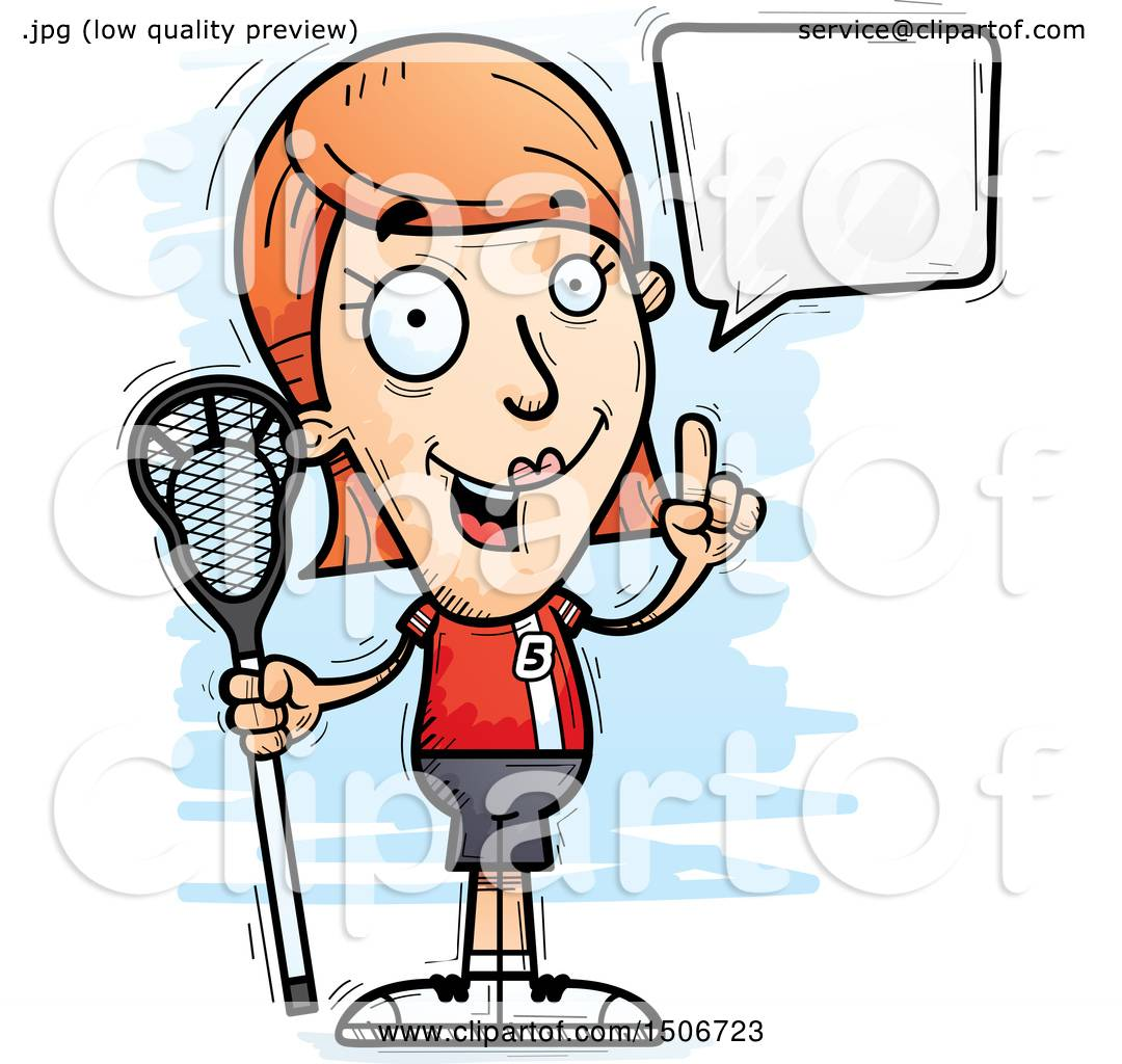 hight resolution of clipart of a talking white female lacrosse player royalty free vector illustration by cory thoman