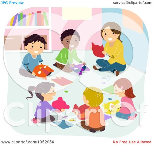 small resolution of clipart of a teacher and children making masks in art class royalty free vector illustration