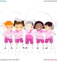 clipart of a team of lacrosse player girls in pink uniforms royalty free vector illustration [ 1080 x 1024 Pixel ]