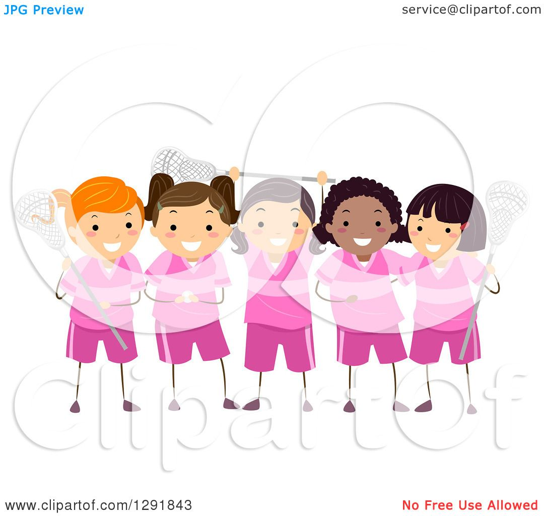 hight resolution of clipart of a team of lacrosse player girls in pink uniforms royalty free vector illustration