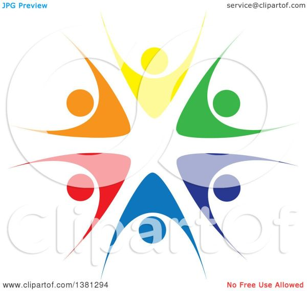 Clipart Of Teamwork Unity Circle Colorful Diverse
