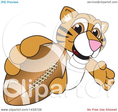 small resolution of clipart of a tiger cub school mascot character grabbing a football royalty free vector illustration