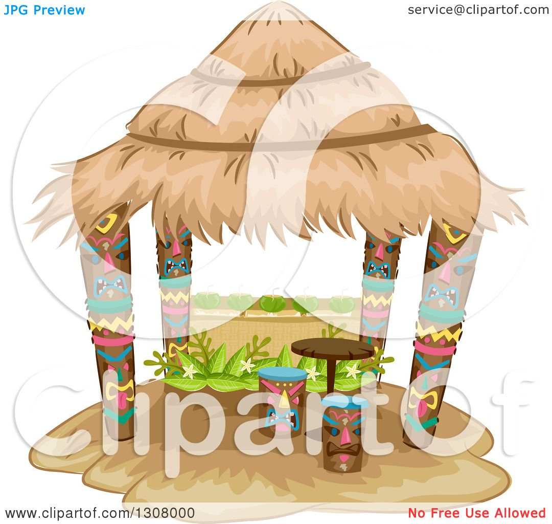 Clipart of a Tiki Hut with Stools and a Table  Royalty Free Vector Illustration by BNP Design