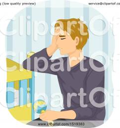 clipart of a tired father sitting by a baby crib royalty free vector illustration by bnp design studio [ 1080 x 1024 Pixel ]