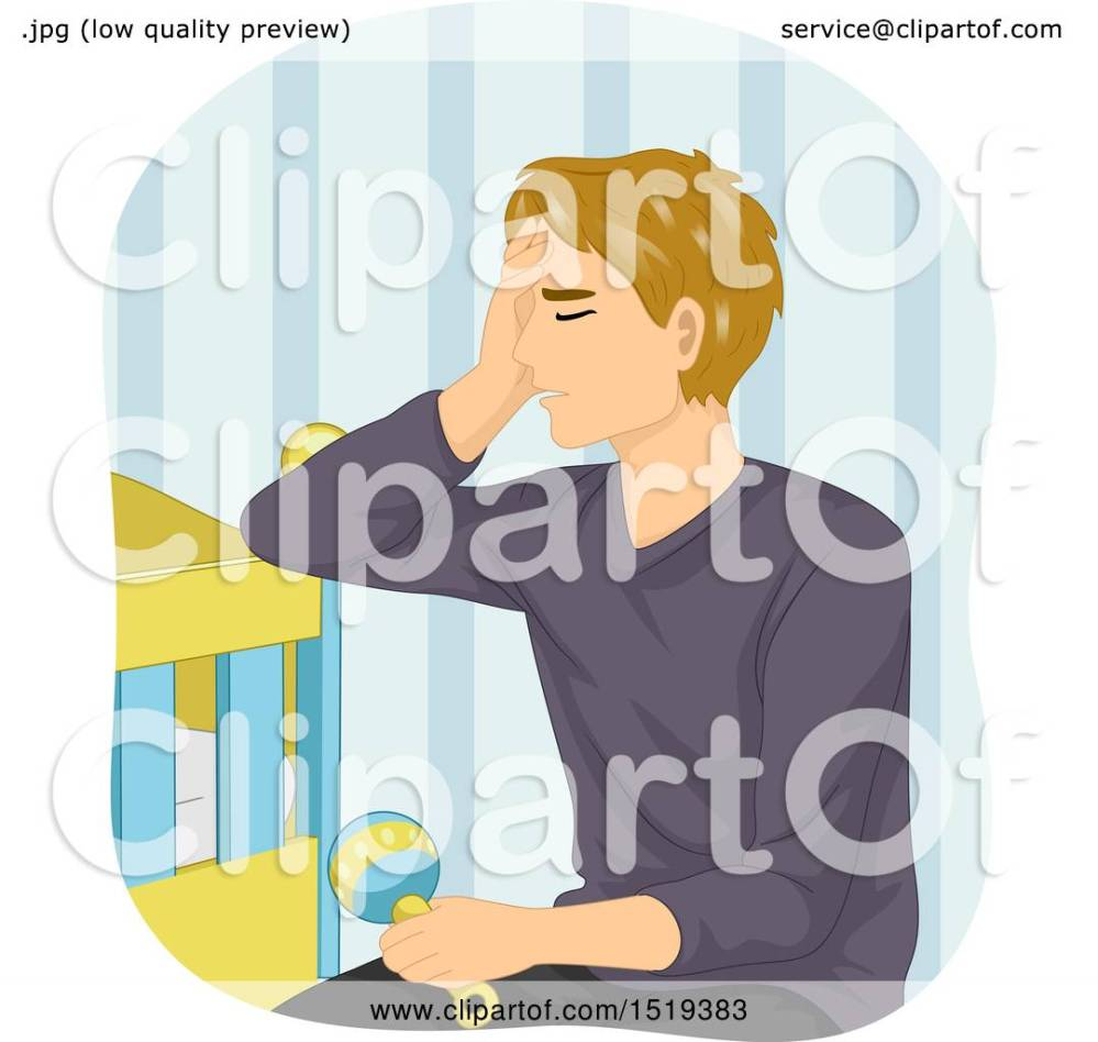 medium resolution of clipart of a tired father sitting by a baby crib royalty free vector illustration by bnp design studio