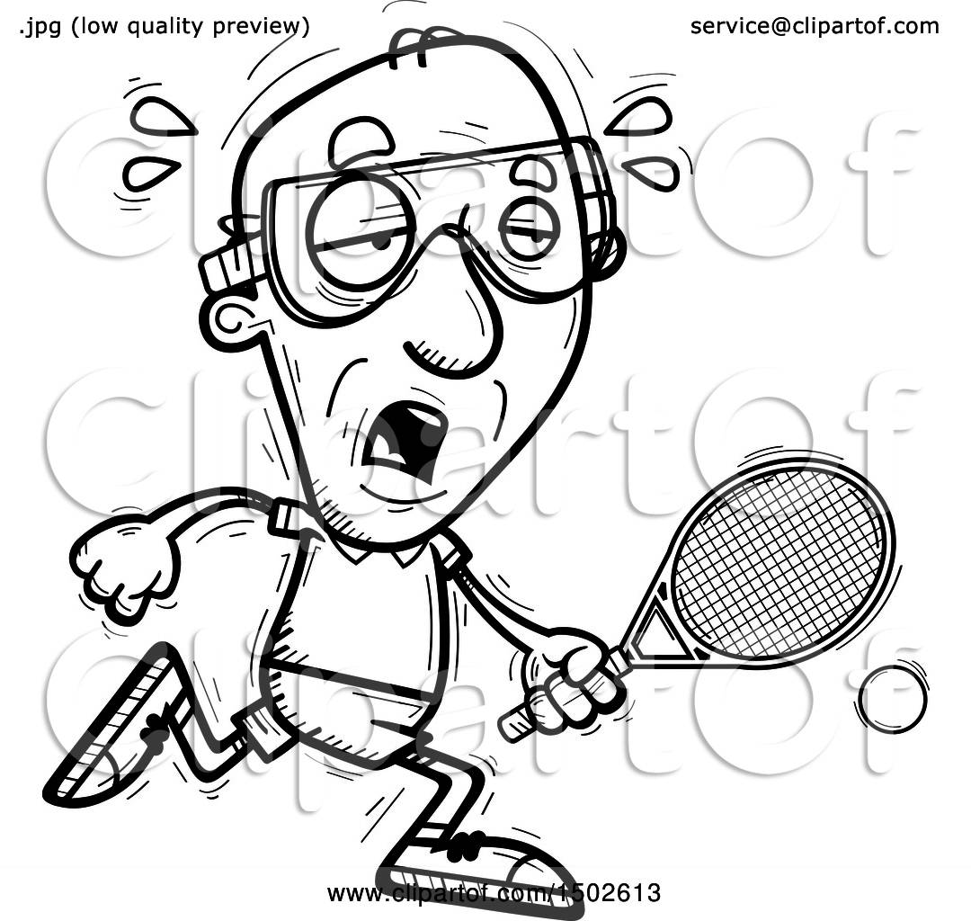 hight resolution of clipart of a tired senior man racquetball player royalty free vector illustration by cory thoman
