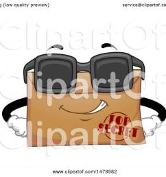 clipart of a top secret envelope mascot wearing sunglasses royalty free vector illustration by bnp [ 1080 x 1024 Pixel ]