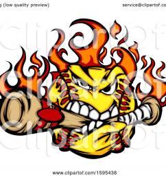 clipart of a tough flaming softball mascot biting a baseball bat royalty free vector illustration [ 1080 x 1024 Pixel ]