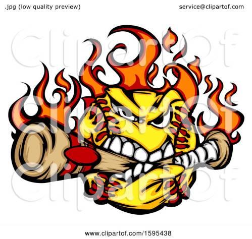 small resolution of clipart of a tough flaming softball mascot biting a baseball bat royalty free vector illustration