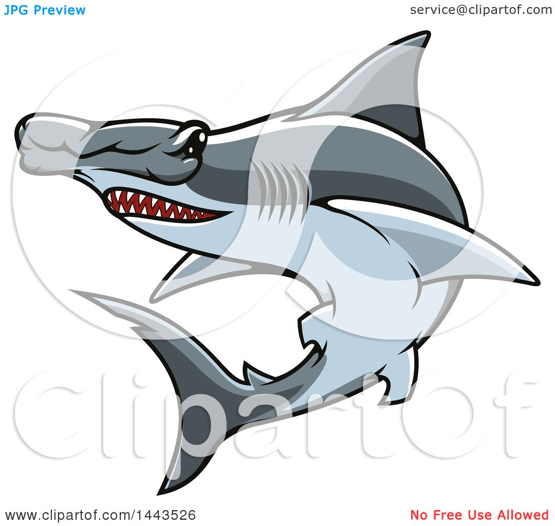 hight resolution of clipart of a tough hammerhead shark mascot royalty free vector illustration by vector tradition sm