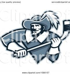 clipart of a tough musketeer sports mascot holding an ice hockey stick royalty free vector illustration by patrimonio [ 1080 x 1024 Pixel ]