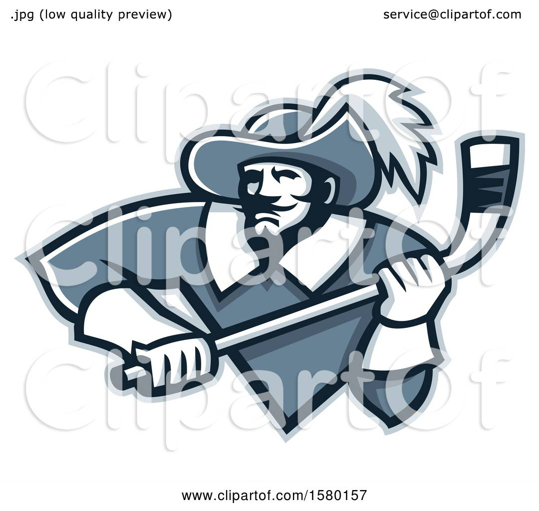 hight resolution of clipart of a tough musketeer sports mascot holding an ice hockey stick royalty free vector illustration by patrimonio
