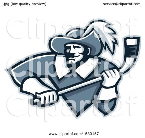 small resolution of clipart of a tough musketeer sports mascot holding an ice hockey stick royalty free vector illustration by patrimonio