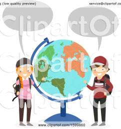 clipart of a traveling teen boy and girl talkinga nd presenting a desk globe royalty free vector illustration by  [ 1080 x 1024 Pixel ]