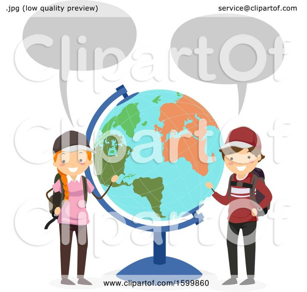 medium resolution of clipart of a traveling teen boy and girl talkinga nd presenting a desk globe royalty free vector illustration by